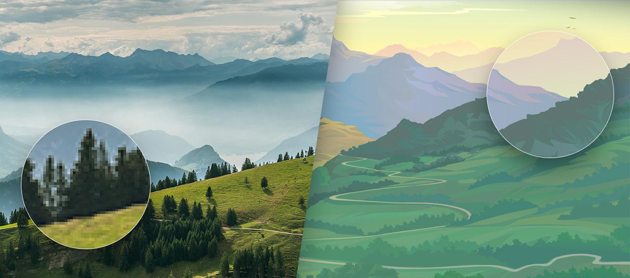 Klare Linien || Blog || Vektor- vs. Pixelgrafik